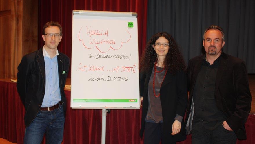Das Projektleitungsteam: Patrick Schuchter (IFF), Sonja Prieth (Tiroler Hospiz-Gemeinschaft), Klaus Wegleitner (IFF).